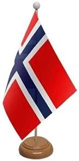 59/mm spilla Norvegia bandiera da tavolo con supporto in legno