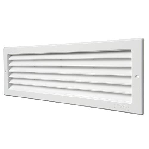 La Ventilazione P3713B - Rejilla de ventilación rectangular de plástico blanco para empotrar. Dimensiones: 370 x 130 mm.