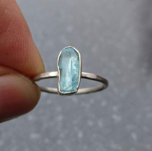 Blue Apatite Crystal Ring Size 6 Hammered Sterling Silver Band Thin Dainty Stacking Ring For Women