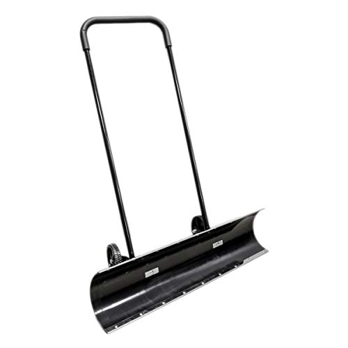"""36"""" Wheeled Snow Shovel Pusher Wheels 36 Inch Angled Reversible ABS Plastic Metal Edges"""