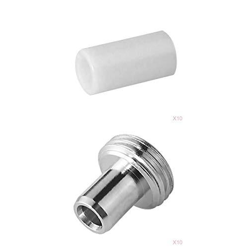 프리티아 광섬유 시력 결함 위치 대체 부품: 10PCS 세라믹 코어 튜브 + 10PCS 금속 피팅 헤드 커넥터