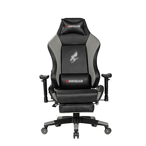 HXJU Gaming-Stuhl, Bürostuhl-Schreibtischstuhl, E-Sports-Stuhl Ergonomisches Design mit Kissen und zurückhaltenden Rückenstütze Fußstütze Grey
