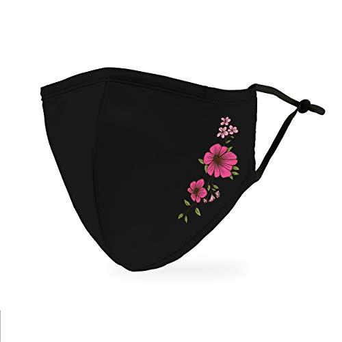 Weddingstar Masque en tissu lavable Tissu de protection réutilisable et réglable Couvercle avec poche pour filtre à poussière - Floral simple