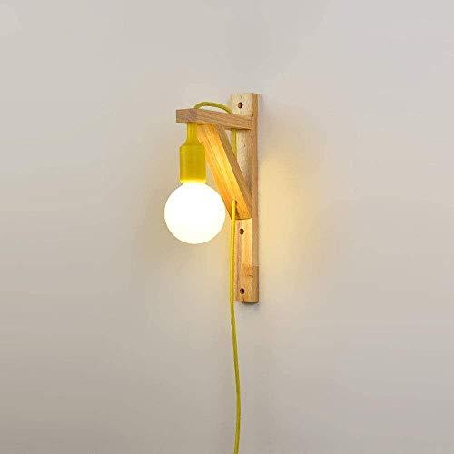 Aplique De Pared De Acero Inoxidable Iluminación de pared de metal de estilo minimalista de madera E27 Iluminación de pared con enchufe ajustable en el diseño de soporte Luces de pared, moderno estilo