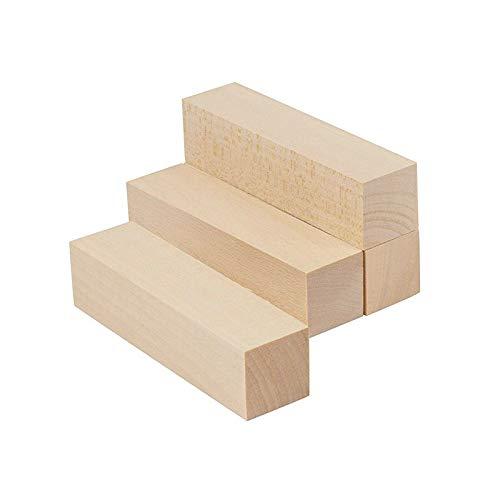 Bloque de madera para tallar, 4 bloques de tablas de tilo para modelos de construcción y madera hecha a mano