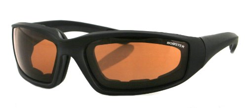 Bobster Foamerz 2 Sunglasses, Matte Black Frame/Amber Anti-fog lens, One Size