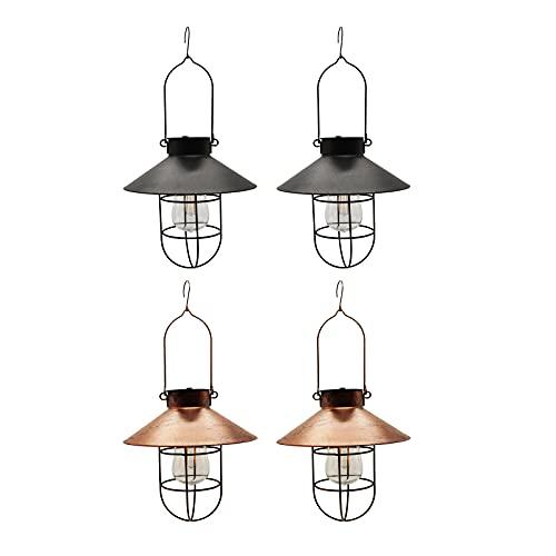Gazechimp 4X Lampada Lanterna a Energia Solare per Esterni in Metallo con Luci Decorative per Patio Cortile
