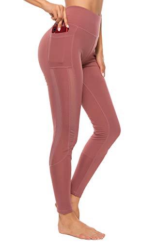 FITTOO Mallas Leggings Mujer Yoga de Alta Cintura Elásticos y Transpirables para Yoga Running Fitness B-Rosa Large