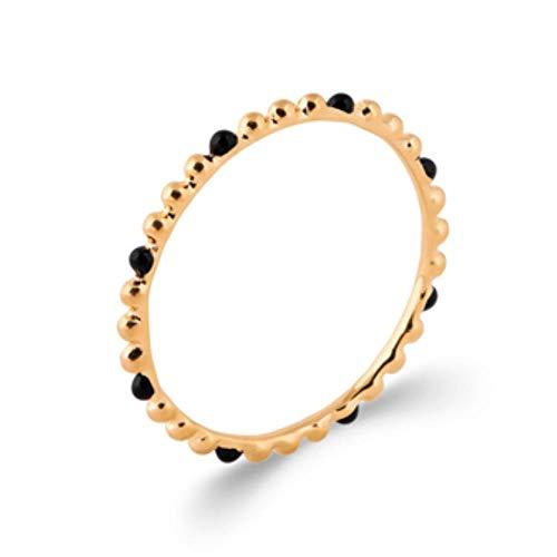 ISADY Oprah Gold - Anello da donna placcato oro 750/000 (18 carati), smalto nero, fede Eternity e placcato Oro, 18, colore: trasparente, cod. Oprah