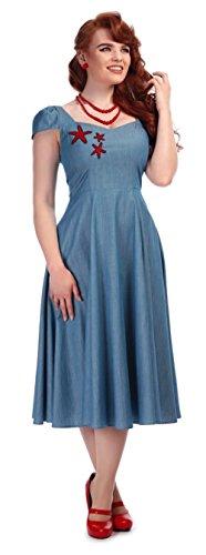 Collectif Damen Kleid Moniya Vintage Starfish Sailor Dress Blau M