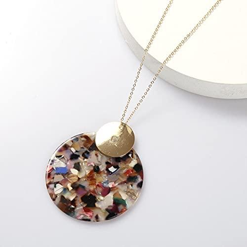 CHENLING 2021 Collar de acrílico de leopardo de aleación de oro geométrico redondo colgante collar Boho Declaración Gargantilla de moda