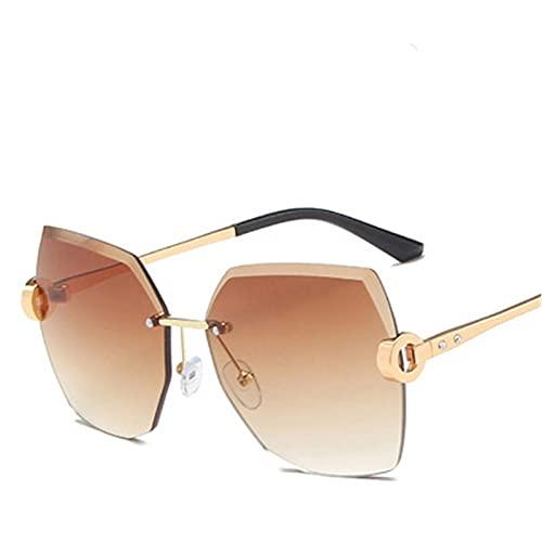 LOPIXUO Gafas de sol Gafas de sol retro para mujer, gafas de sol graduadas sin montura de moda, lentes de corte, lentes sin marco para mujer, multicolor