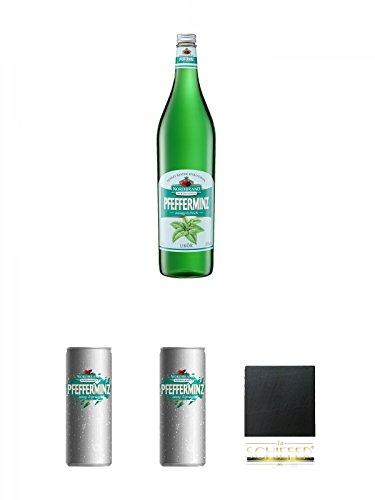 Nordbrand Pfefferminzlikör 3,0 Liter Magnum + Nordbrand Pfefferminzlikör 0,25 Liter Dose + Nordbrand Pfefferminzlikör 0,25 Liter Dose + Schiefer Glasuntersetzer eckig ca. 9,5 cm Durchmesser
