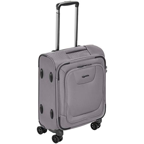 AmazonBasics Expandable Softside Carry-On Spinner Luggage Suitcase With TSA Lock And Wheels - 20.4 Inch, Grey