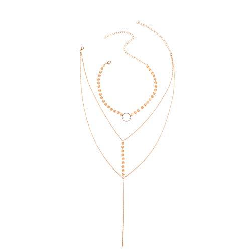 Kingwo Fashion Necklace Women Girls Sequins Tassel Pendant Multilayer Wild Clavicle ChainSummer Bikin Necklace Accessories(Gold)