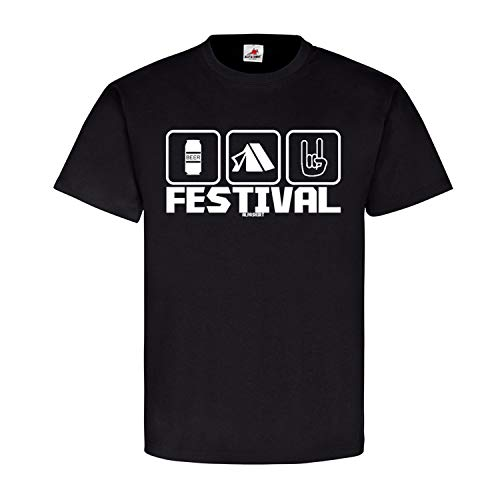 Festival Piktogramm Rock Party Beer Bier Fun Fete Musik Music Zelten Konzert Open Air Sommer Spaß T Shirt #20546, Farbe:Schwarz, Größe:L