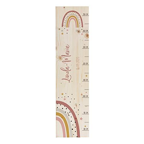 Striefchen® Messlatte für Kinder mit Namen aus Holz für Kinderzimmer mit niedlichen Motiven Messleiste Regenbogen Rosa