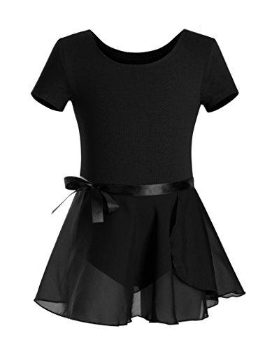 DANSHOW Girls Short Sleeve Leotard with Skirt Kids Dance Ballet Tutu Dresses(10-12,Black)