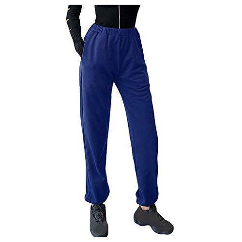 SHOBDW Pantalones Mujer Verano 2020 Yoga Leggings Mujer Fitness Cintura Elástica Pantalones Deporte Mujer Pantalones de Dormir Casual Pantalones Caseros Tallas Grandes(Azul,M)