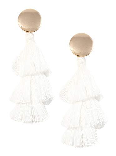 Happiness Boutique Damas Pendientes de Borla a Capas en Blanco y Color Dorado | Pendientes Llamativos con Círculo y Borlas