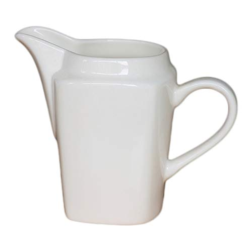 dxzsf Gravy and Sauce Boat White Ceramic Coffee Milk Creamer Pitcher Dispenser with Handle for Kitchen Juice Sauce Roasting Sauce