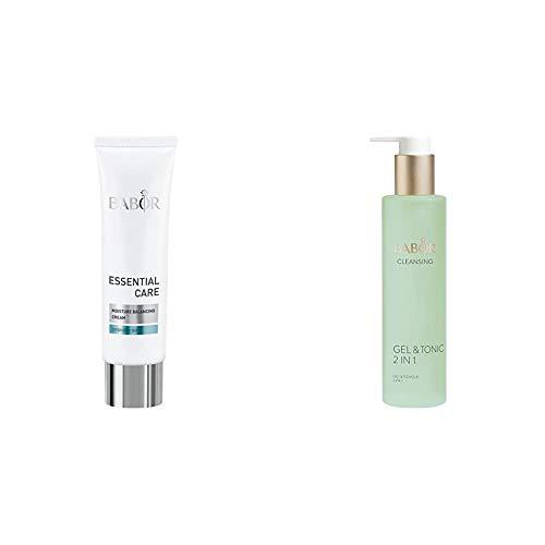 BABOR ESSENTIAL CARE Moisture Balancing Creme, leichte Gesichtspflegecreme, für Mischhaut und fettige Haut, 50 ml & CLEANSING Gel & Tonic, 2 in 1, fettfreies Reinigungsgel und Gesichtswasser in einem