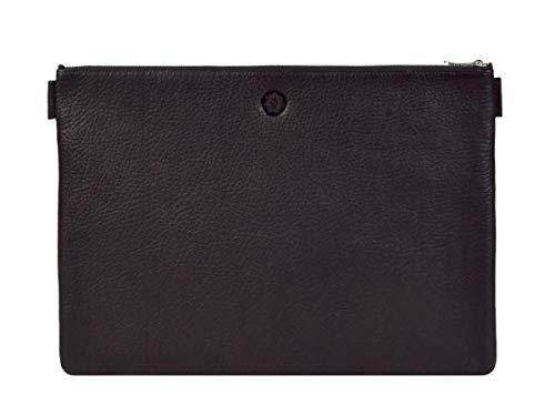 Sonnenleder Dokumentenmappe groß Banktasche A4 Leder mit Reißverschluss Ledermappe Ledertasche schwarz