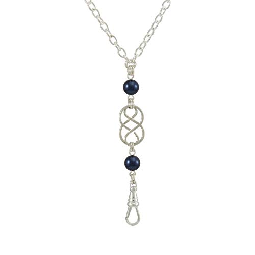 Brenda Elaine Jewelry Women's Fashion Lanyard Necklace ID Badge Holder, 32 Inch Silver Chain with Silver Celtic Knot and Night Blue Pearl Pendant & No Rear Clasp