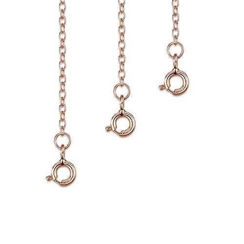 Amberta Set de 3 Cadenas de Extensión para Pulseras y Collares en Plata de Ley 925 Chapadas Oro Rosa 14K - Kit de Extensor 2 mm para Tobilleras para Mujer - Longitudes: 25, 50, 100 mm