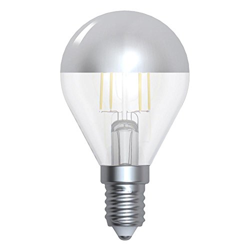 Girard Sudron 15647-LED 45 mm Golfball G45 LED Filamento Bombilla Corona E14 (SES Pequeño Edison, luz blanca cálida, 350 lúmenes, regulable, 4 W, tapa plateada, transparente