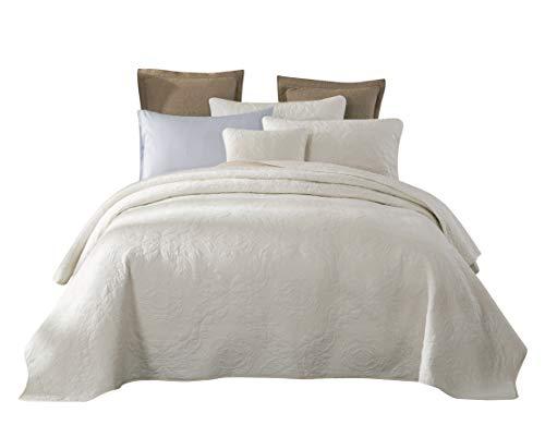 Tache Cotton Damask Matelasse Powder Snow Solid Cream Off White Ivory Quilt Bedspread 3 Piece Set, California King