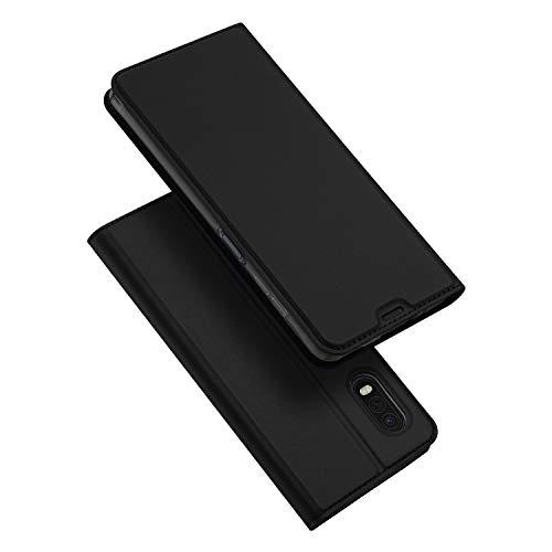 DUX DUCIS Hülle für Samsung Galaxy Xcover Pro, Leder Klappbar Handyhülle Schutzhülle Tasche Hülle mit [Kartenfach] [Standfunktion] [Magnetisch] für Samsung Galaxy Xcover Pro (Schwarz)