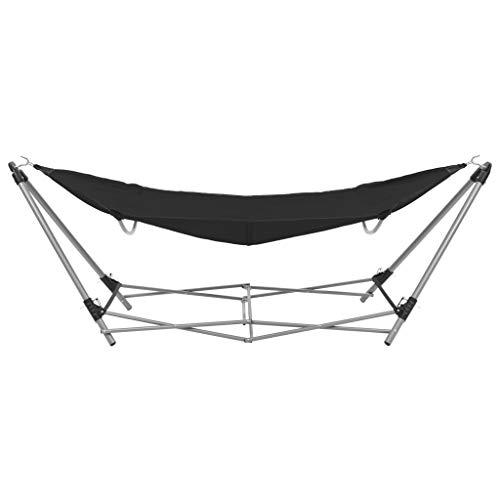 Tidyard Hamaca con Soporte Plegable Incluido para Jardín Playa o Camping,241x76x70cm Negro