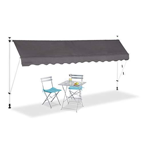 Relaxdays UV-beständig Klemmmarkise Balkon, Handkurbel, höhenverstellbar, ohne Bohren, grau, 400 x 120 cm