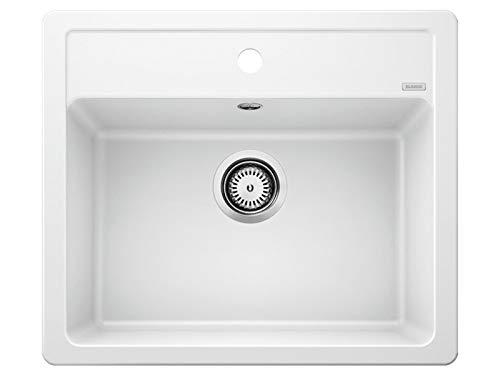 BLANCO LEGRA 6 – Lavello rettangolare in granito per basi di lavello con larghezza di 60 cm – SILGRANIT – Senza Gocciolatoio – Bianco – 523334