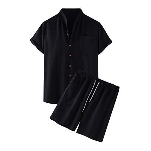 YSYOkow Camisas de manga corta para hombre con botones de verano para playa, ropa de pesca, blusas y pantalones cortos conjuntos