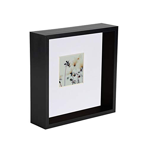 Nicola Spring 6 x 6 3D Shadow Deep Box Photo Frame - Craft Display Picture Frame with 2 x 2 Mount - Black