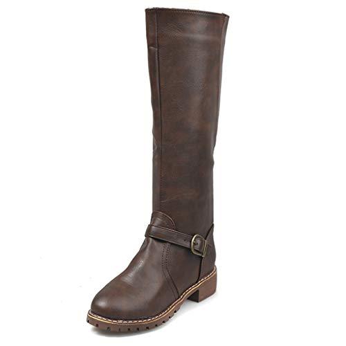 UMore Botas Altas Invierno Mujer, Camfosy Botas de Nieve Caña Ancha Zapatos Mujer Cuña Planos Sintética Peluche Jinete Bajo Cómodos Peludas Calentitas 2021