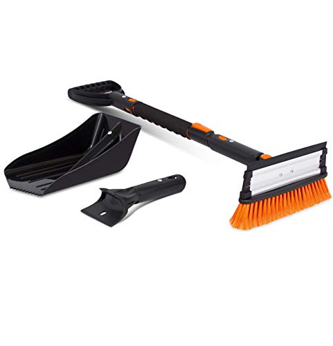 """Snow Moover 39"""" Extendable Snow Brush with Squeegee, Ice Scraper & Emergency Snow Shovel 