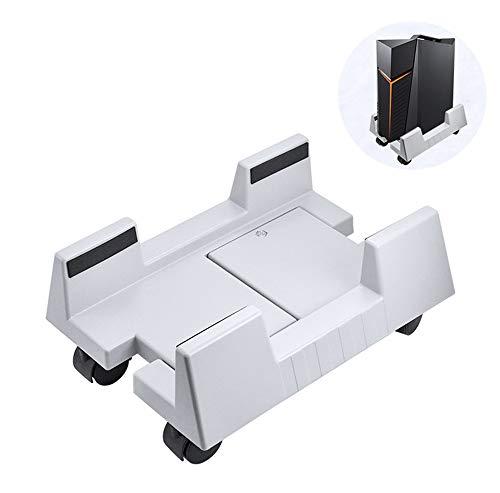 JFJL CPU-Ständer, Einstellbare Breite Universal-PC-Computerhalterwagen Mit 4 Lenkrollen - Computerwagen,Weiß