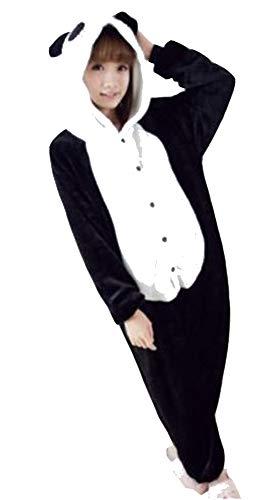 Ovender®, einteilige Kigurumi-Pyjamas, Unisex, Kostüme für Karneval, Halloween, Cosplay, Partys, Motive: Einhorn, Stitch, Eule, Zebra, Giraffe, Kuh, Zootiere, Column, Schwarz X-Large