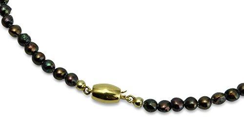Unbekannt Damen Perlkette Süßwasserperle Schokobraun leicht barock Schloß 585 Gelbgold 14 ct Länge 41 cm H09-A0003