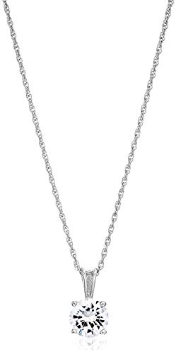 """Amazon Essentials Platinum Plated Sterling Silver Cubic Zirconia Round Cut Solitaire Pendant Necklace (6.5mm), 18"""""""