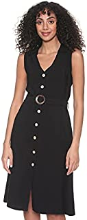 Andiamo Fashion Button-Down Sleeveless Belted A-Line Dress for Women - Black, XL