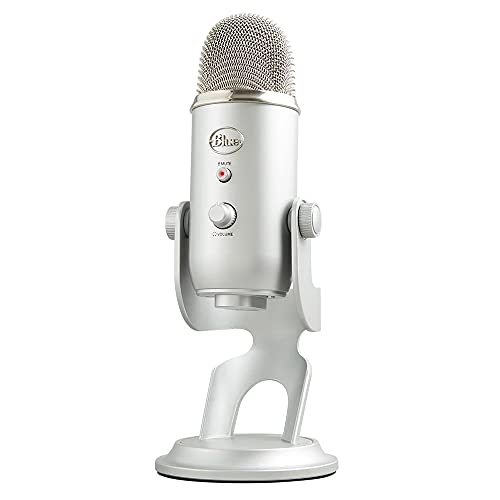 Blue Yeti USB Mic for Recording & Streaming on PC and Mac, 3 Condenser Capsules, 4 Pickup Patterns, Headphone Output and Volume Control, Mic Gain Control, Adjustable Stand, Plug & Play - Silver