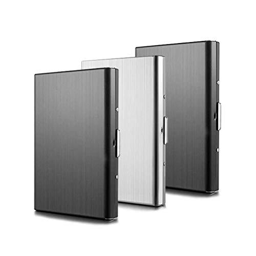 Kreditkartenetui TBoonor 3 Stück Kartenetui aus Aluminium RFID Schutz Kreditkartenetui 6 Fächer für Kreditkartenhülle für Damen und Herren(2 Schwarz+1 Silber)