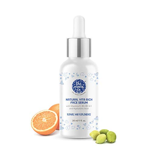 The Moms Co. Natural Vitamin C Face Serum for Deep Hydration,Pigmentation, Fine Lines & Wrinkles with Hyaluronic Acid,Vitamin B3, B5, E (30 ml)