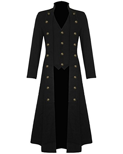 Darkrock Men's Black Cotton Twill Steampunk Jacket Goth Victorian/Military Style Trench Coat (Medium, Black)