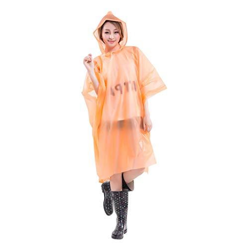 Clement Attlee Disposable DustProof Raincoat Outdoor Travel Adult Transparent Protective Poncho Reusable Orange