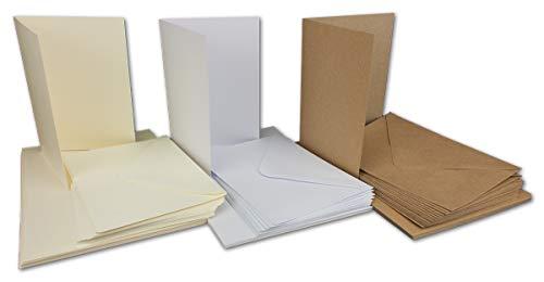 30 Falt-Karten Sets - DIN A6-240 g/m² 220 g/m² - Weiss - Creme - Kraft - mit Brief-Umschlägen DIN C6-120 g/m² 90 g/m² Nassklebung - 60 Teile